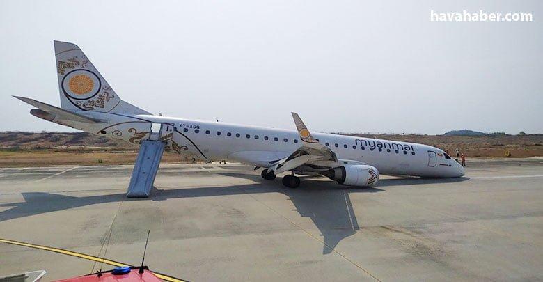 Myanmar Havayolları'na ait bir yolcu uçağının pilotu, iniş sırasında ön tekerleri açılmayan uçağı başarıyla piste indirdi.
